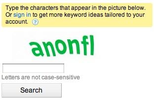 Google Adwords Captcha