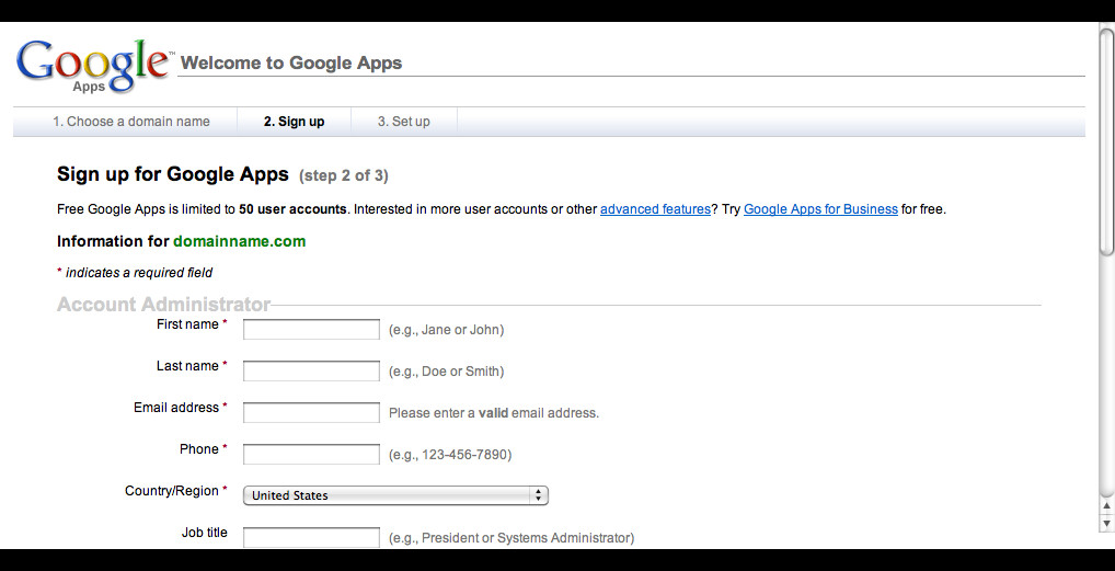 Google Apps Gmail for your own Domain Name: Step 4