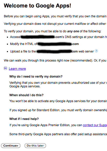 Google Apps Gmail for your own Domain Name: Step 5