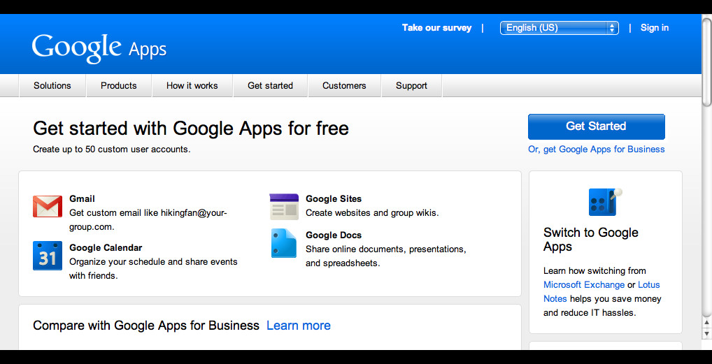 Google Apps Gmail for your own Domain Name: Step 2