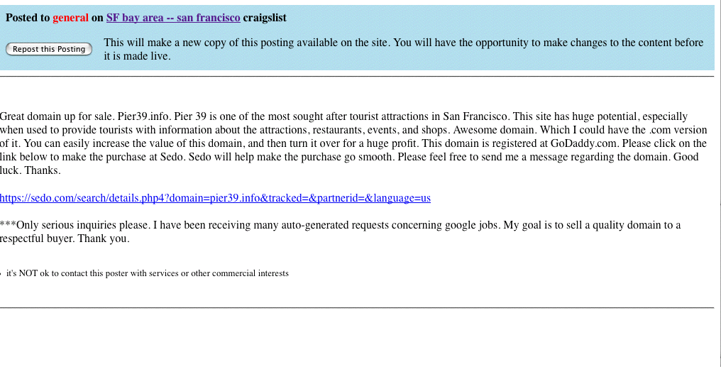 Domain Name Selling on Craigslist -- Pier39.info