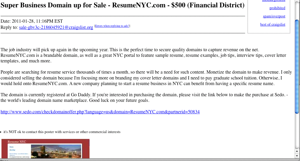 Domain Name Selling on Craigslist -- ResumeNYC.com