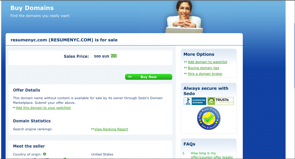 Domain Name Selling on Sedo -- ResumeNYC.com