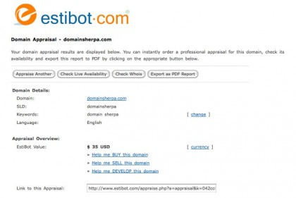 Estibot.com Valuation of DomainSherpa.com