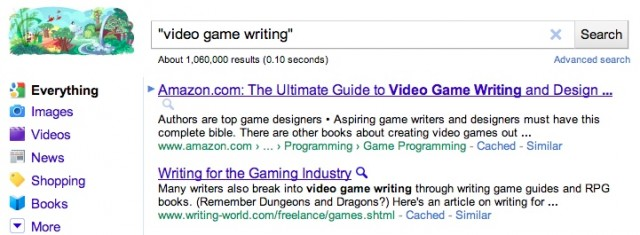 google-video-game-writing