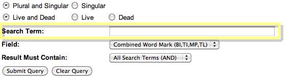 USPTO Trademark Enter Search Term for Domain Name