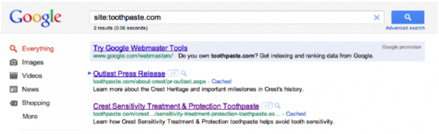 2 Pages in Google's Index for Toothpaste.com