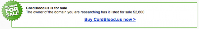 Cordblood.us Exact Match Domain for Sale