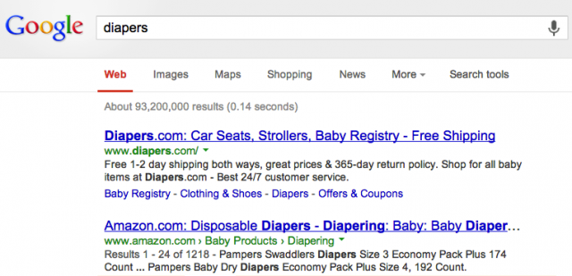 Diapers Example of Exact Match Domain Name
