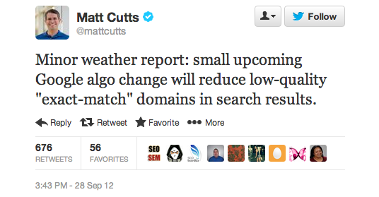 EMD Google Algorithm Change Announcement by Matt Cutts