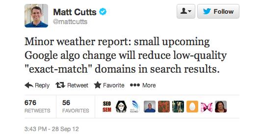 EMD Google Algorithm Change Announcement by Matt Cutts