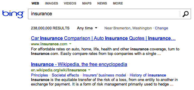 Insurance.com Example of Exact Match Domain Name on Bing