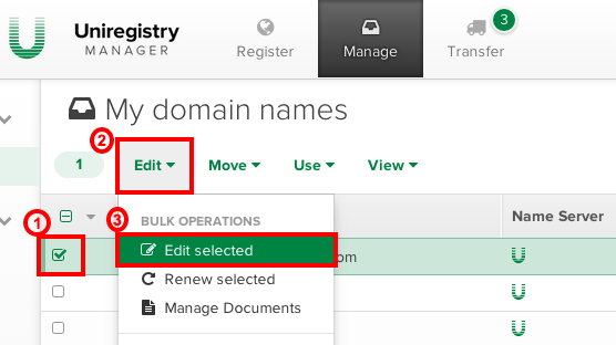 Uniregistry Delete Domain Name Registration