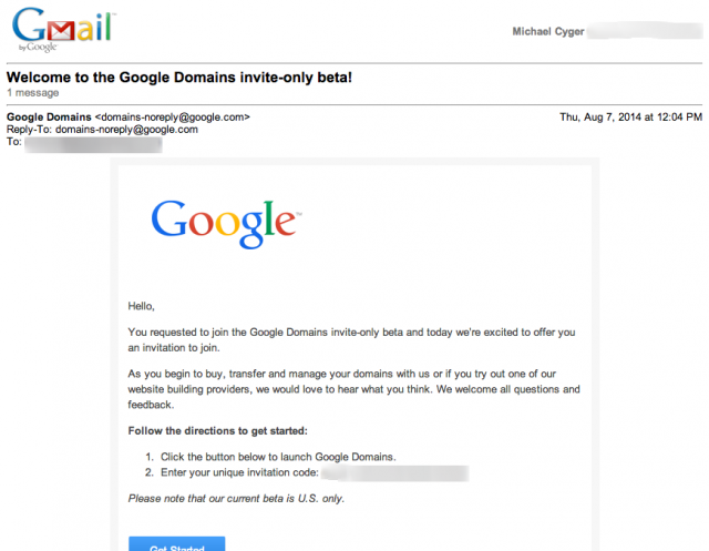 1-Gmail   Welcome to the Google Domains invite only beta