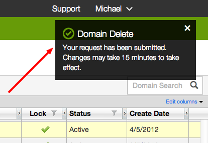 GoDaddy Delete Domain Onscreen Confirmation
