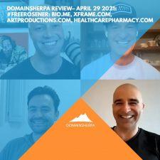 DomainSherpa Review – April 29, 2021: #FreeRosener: Bio.me, XFrame.com, ArtProductions.com, HealthCarePharmacy.com